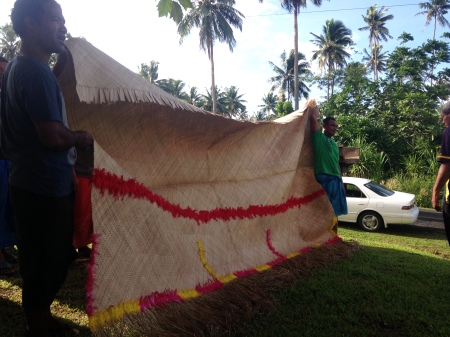 Fa'alavelave is a Samoan term that refers to any major occasion in village life. We were able to attend a funeral fa'alavelave. Life is celebrated with singing, euglogies, and gift exchange. Fine mats (left) take weeks of work, and are a major gift.