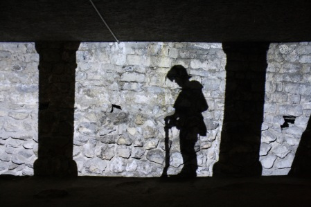 In one room of the castle, there was a video projection on the stone wall. The silhouettes of actors came in and acted out the siege of the castle in the 1400s.