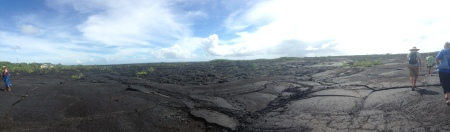 Looking out over the lava fields