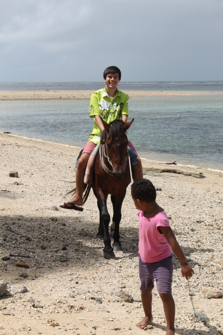 Spontaneous horseback riding on the beach plays up the worry-free Fiji stereotype.