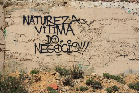 "Lagos had its own angsty graffiti as well. Someone pointedly spray-painted ""Natureza vitima do negócio"" (""Nature victim of negotiation"") on a wall in front of a huge hotel resort."