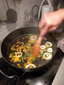 Pan searing veggies and squid